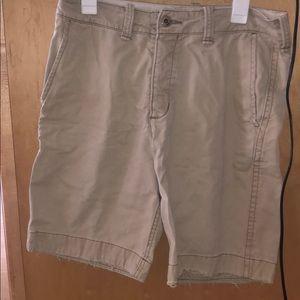 Khaki Distressed Hollister Shorts